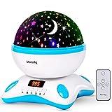 Moredig - Sternenhimmel projektor lampe, musik nachtlicht lampe 360° Rotation mit LED-Anzeige und fernbedienung, 12 beruhigende musik + 8 romantische licht, geschenk für kinder - Blau und Weiß