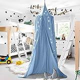 Baby Baldachin Betthimmel Kinder Babys Bett Baumwolle Hängende Moskiton für Schlafzimmer Ankleidezimmer Spiel Lesen Zeit Höhe 240 cm Saumlänge 270cm (Blau)