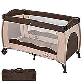 TecTake Kinderreisebett mit Schlafunterlage und praktischer Transporttasche - diverse Farben - (Coffee   Nr. 402417)