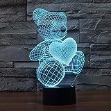 3D Illusion Lampe LED Nachtlicht Lampen, KidsPark Optische Bär Nachtlichter Tischlampe Kinder Nachttischlampe 7 Farben ändern Schreibtischlampe Mit USB-Kabel
