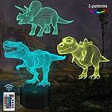 Dinosaurier-Geschenke, 3D-Nachtlicht für Kinder (3 Muster) mit Fernbedienung und 16 Farbwechsel- und dimmbaren Funktionen, Weihnachtsgeburtstagsgeschenke für Jungen Mädchen Mann Kind