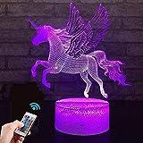 Einhorn Geschenk Einhorn Nachtlicht für Kinder, 3D Licht Lampe 7 Farben ändern mit Remote Urlaub und Geburtstagsgeschenke Ideen für Kinder (Einhorn2)
