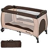 TecTake Kinderreisebett mit Schlafunterlage und praktischer Transporttasche - diverse Farben - (Coffee | Nr. 402417)