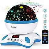 Moredig- Sternenhimmel projektor lampe, musik nachtlicht lampe 360° Rotation und fernbedienung, 12 beruhigende musik + 8 romantische licht, perfektes geschenk für baby (Blau und Weiß)