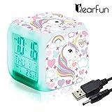Einhorn Wecker Digital für Mädchen, Kinder Einhornwecker Beleuchteter LED Night Glowing LCD Uhr mit Licht Aufwachen Nachttischuhr Geburtstagsgeschenke für Erwachsene Schlafzimmer (7)