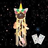 Nice Dream Einhorn Traumfänger mit LED Licht, Handgemachte Blume Rosa Dreamcatcher mit Federn, Maiden Zimmer Schlafzimmer Romantische Dekoration