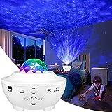 LBell LED Projektor Sternenhimmel Lampe mit Fernbedienung Starry Stern Mond/Wasserwellen-Welleneffekt/Bluetooth Lautsprecher Perfekt für Party Weihnachten Ostern Halloween (weiß)