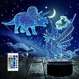 3D Nachtlicht, Optische Täuschung Dinosaurier-Nachtlampe 16 Farben mit Fernbedienung, Dekor LED Visuelles Nachtlicht für Kinder Geburtstag Geschenke (2Stck Acrylplatten)